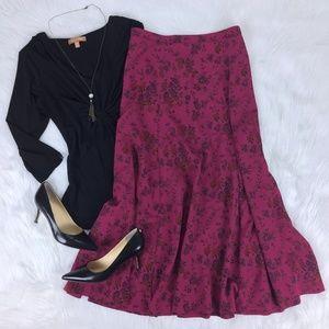 Long A-Line Maxi Skirt Raspberry Pink Floral Sz 12